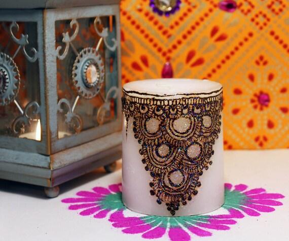 Henna Candle Mehndi Candle Henna Design Henna Decor Candle Etsy