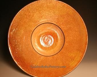 """Raku Pottery Bowl """"Halo"""", Raku Pottery Centerpiece Bowl, Pottery Bowl, Raku Bowl, Stunning Art Piece for Your Coffee, Dining or End Table"""