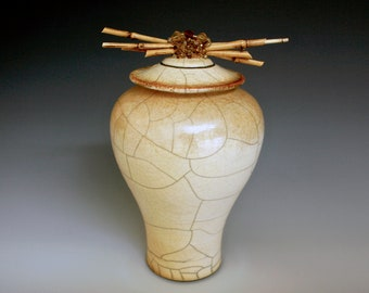 """Raku Pottery """"Grace"""", Exceptional Gift, Stunning Raku Pottery Vase for Home Decor, May be used as an Urn to Embrace a deceased Loved One"""