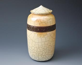 "Raku Pottery, ""Mountaintop"", Elegant Raku Vessel, Raku Vase, Pottery Vase, Exceptional One of a Kind Raku Artpiece"