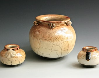 """Raku Pottery Vases """"Dragonfly & Shells"""", Enhance and Brighten Your Home with Beautiful Raku Pottery Vases, An Exquisite Gift!"""