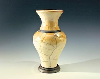 "Raku Pottery Vase ""Banded Vase on Pedestal"" Award Winning Raku, Exquisite Raku Pottery Gift for Another or for You! FREE SHIPPING!"
