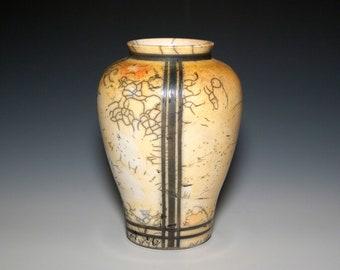 "Raku Pottery Vase ""Mission Vase"", Art Piece Influenced by FLWright Mission Design, Exceptional Raku Pottery, Unique Raku Vessel, Ideal Gift!"