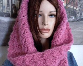 Crochet Cowl Scarf, All Seasons Cowl, Handmade Pink Scarf Thick Rich Rose Pink Cowl Infinity Scarf Gift for Her READY TO SHIP On Sale Now