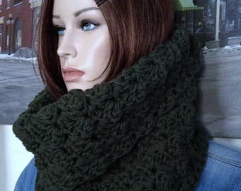 Deep Army Green Thick Winter Cowl Knit Scarf Handmade Extra Thick Scarf for Outdoor Winter Extremists:) Thick Blanket Stitch Crocheted Scarf