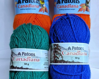 5 Skein Bundle of Patons Canadiana Yarn Bright Orange Yarn Emerald Green Royal Blue Golden Yellow Yarn Worsted Acrylic Knitting Yarn