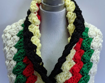 Hudson Bay Scarf Classic Canadian Colors Made in Canada Thick Winter Cowl Scarf Long Blanket Stitch Scarf Bay Christmas Colors Ready to Ship