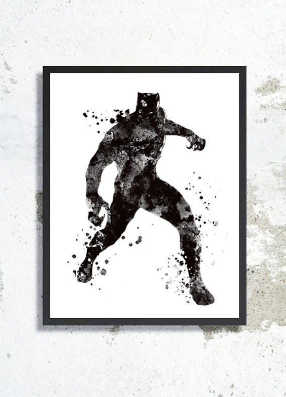 Black panther watercolor print civil war poster black panther
