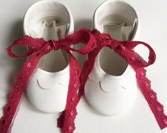 White lace up mary janes