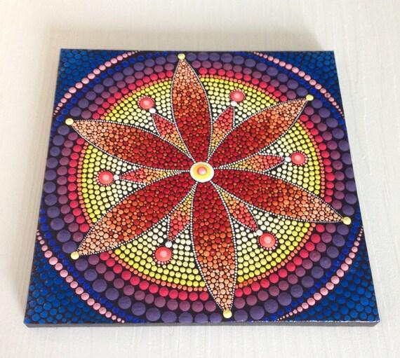 peinture de mandala fleur rouge originale sur toile peinture etsy. Black Bedroom Furniture Sets. Home Design Ideas