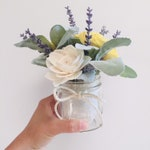 Lavender & Lambs Ear Floral Mini Mason Jar Sola Wood Flower Arrangement || Table Decor || Kitchen Decor || Rustic Decor ||
