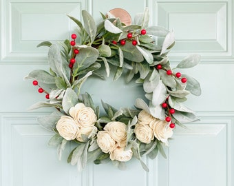 Christmas Lambs Ear and Cream Sola Wood Flowers Wreath || Farmhouse Wreath || Berries || Rustic Decor || Lamb's Ear Wreath||