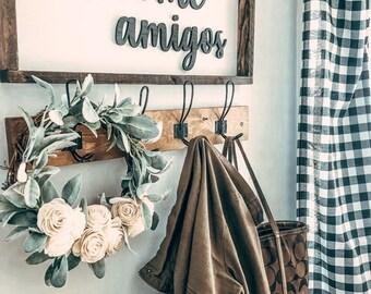 Lamb's Ear and Cream Sola Wood Flowers Wreath || Farmhouse Wreath || Wall Art || Rustic Decor || Lamb's Ear Wreath|| Door hang || Roses
