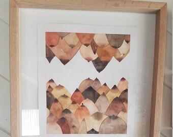 Original watercolor in handmade oak frame