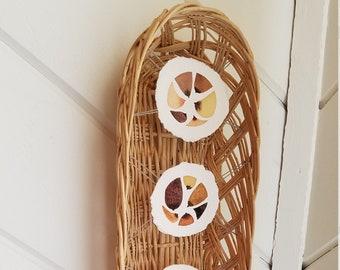 Original hand painted watercolor paintings mounted inside basket