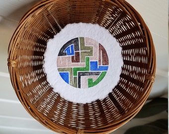 Original hand painted watercolor painting mounted inside basket