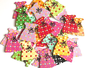 green Dress and Coat Shaped Wooden Buttons Card Embellishments pink blue
