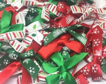 60 x Satin Christmas Embellishment Bows in Random Mixed Designs