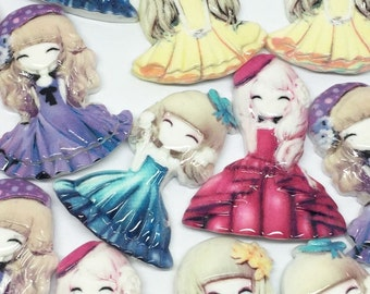 20 Cute Resin Doll Flatbacks, Cuteness for crafting and Cardmaking, scrapbooking
