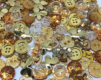 150 x GOLD Random Button and Flatback Mix Collection Card Craft Embellishments