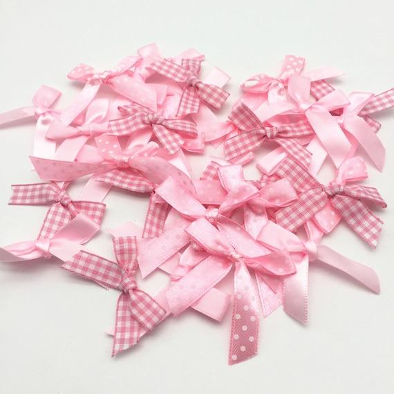 30 x Mini Satin Fabric 3mm Ribbon Bows Card Making// Crafts// Sewing
