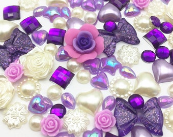 100 x Mixed Flatbacks Ivory Lilac Purple tones cardmaking craft embellishments