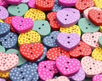 100 x Heart Spottted Buttons wood wooden 15mm Mixed colours craft sewing heart