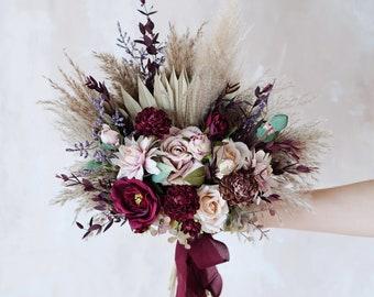 Rustic boho Wedding Bouquet,Artificial Faux Flowers Home Wedding Decor,bridal bridesmaids bouquets,Flowers Arrangement,Small Centerpiece
