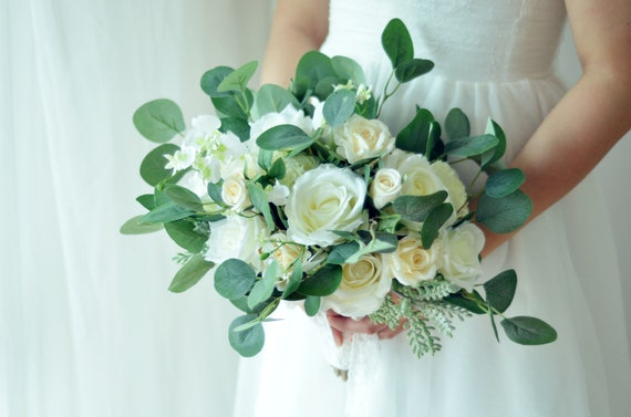 Green floral display Button Bouquet artificial Wedding Flowers Bride Bridal Bridesmaid White roses green leaf buttons leaves centrepiece