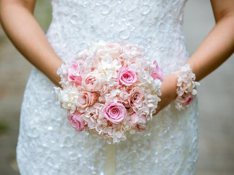 bridesmaid wedding flowers,pink beige Preserved flowers Natural Bridal bouquet,Austin rose hydrangea bouquet boho wedding bouquet