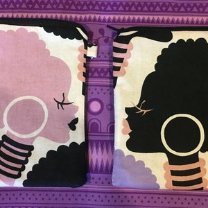 Phone Size  Pouch Mecca for Moderns ** Electra Purple--Pink /& Black Afros in Silhouette Size 7  x 5 Optional Strap