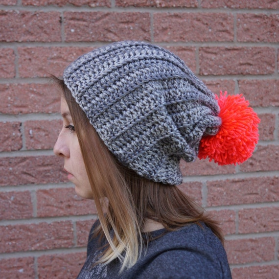 Häkeln Hut Gerippte Mütze Mit Neon Pom Pom übergroße Pom Pom Etsy