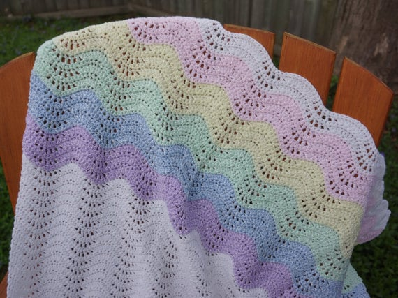 Pattern Only Crochet Baby Blanket Pattern Crochet Ripple Wave Etsy