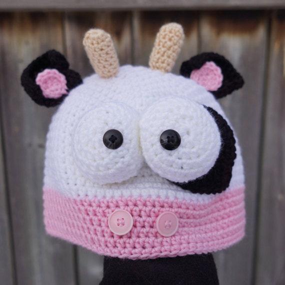 Häkeln-Kuh-Hut Crochet Tier komischer Hut für Kinder Alter
