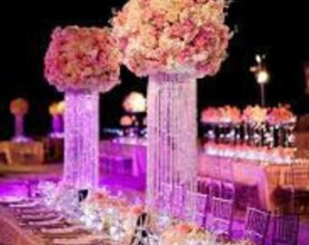 Glamorous decor etsy 5 set 20 glamorous column enchanted chandelier with battery led lights centerpiece wedding decoration centerpiece set of 5 junglespirit Choice Image