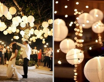 Wedding lanterns etsy 12pcs white lights for paper lanterns balloons wedding and special events junglespirit Images