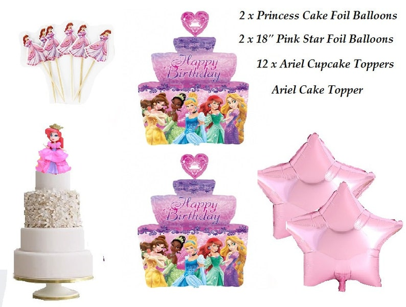 Surprising 17 Piece Set Complete Princess Ariel Foil Balloon For Princess Etsy Funny Birthday Cards Online Drosicarndamsfinfo