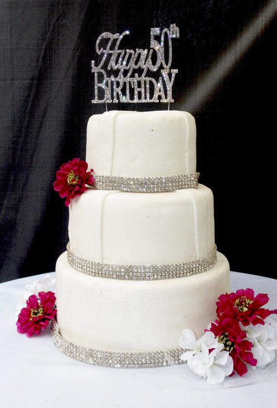 Large Sparkling Silver Rhinestone 50th Happy Birthday Cake