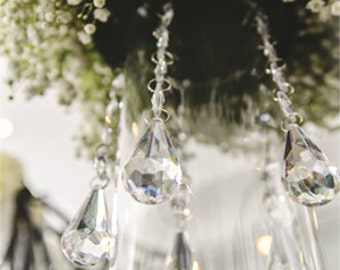 6 Hanging Crystals with Multi Faceted Waterdrop wedding centerpiece