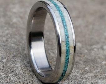 7bd93870ff Antler Ring, Antler Band, Turquoise Ring, Stainless Steel Ring, Wedding Ring