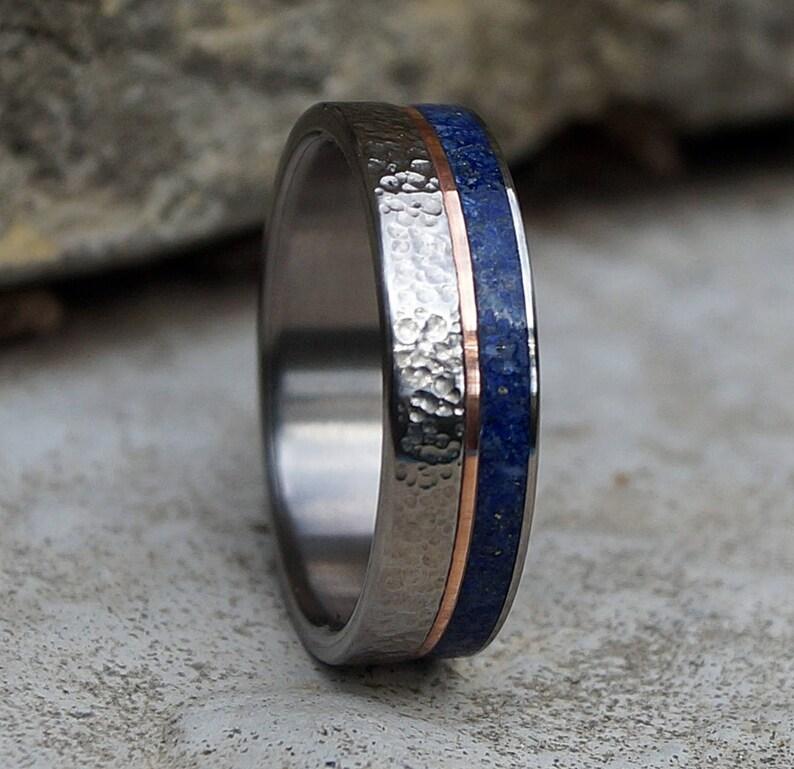 Titanium ring copper and lapis lazuli
