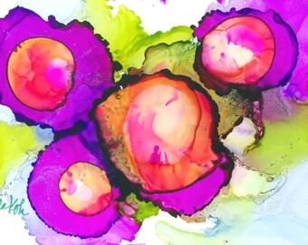 Purple Passion, Alcohol Ink Art on Yupo by Yolanda Koh--pink, purple, green, blue