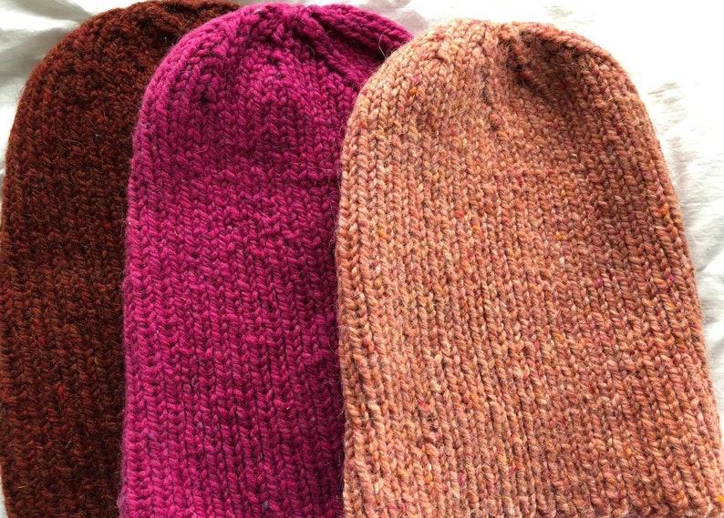 6b8a387ca1cb5 Hand knit wool winter hat colorful toboggan ski hat