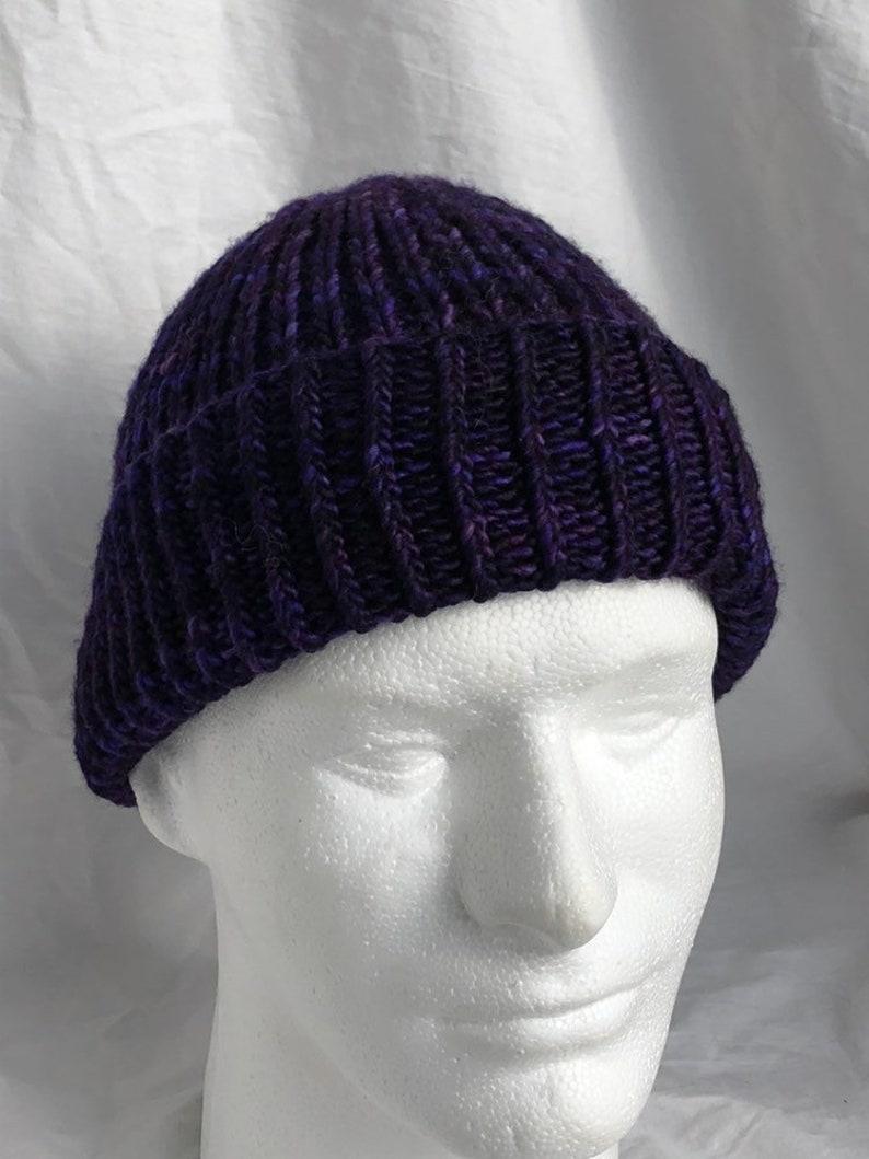 Hand Knit bright purple wool winter hat ski cap watch cap  517840506143