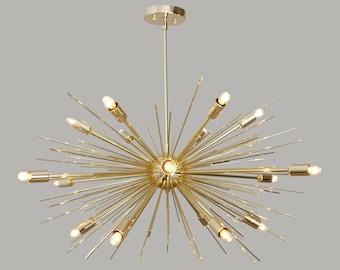 "Mid Century Sputnik Brass Chandelier SPURCHIN  , Handmade Statement Urchin Chandelier Ceiling Light 18 light 32"""