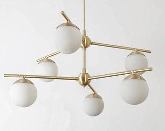Modernist Gemma Brass Ceiling Lamp Contemporary Chandelier Pendant Ceiling Light