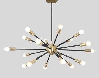 Mid Century Sputnik Chandelier , Modern Handmade Brass Sputnik Ceiling Light Fixture Lamp  32inch