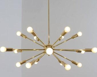 Sputnik chandelier etsy mid century modern polished brass sputnik chandelier light fitting 18 arm bulbs 32inch diam aloadofball Images