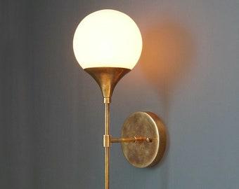 Modern Handcrafted Brass TRUMPET Wall Sconce ,  Handmade Modern Brass Wall Light Lamp , Glass Globe Wall Lamp Hallway Entrance