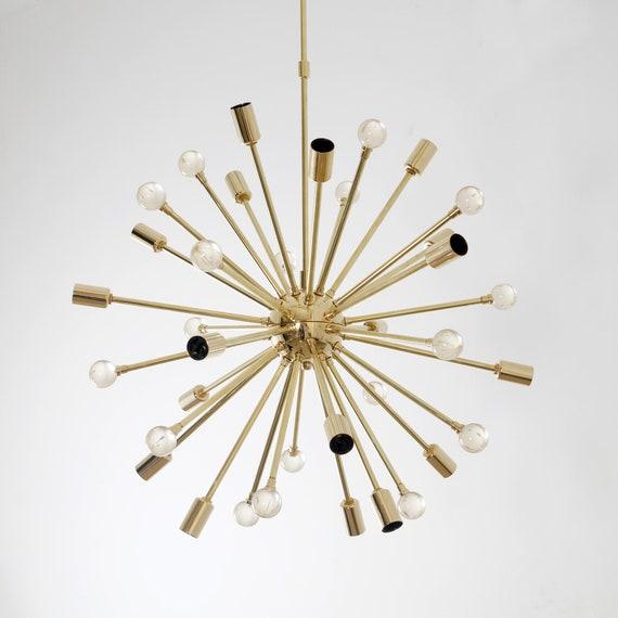 Mid Century Modern Chandelier Sputnik Chandelier Asteroid Ceiling Light Brass Ceiling Lamp